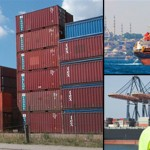 Shipping containers, a ship, and export workers