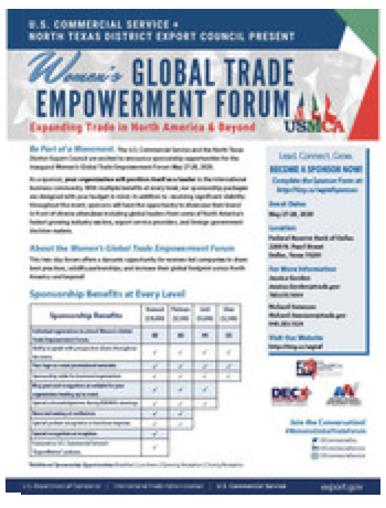 2020 Womens Global Trade Forum - Sponsorship Flyer
