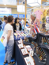 Japan gift show, booth with pens
