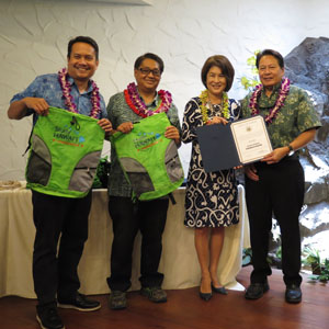 YWU were awarded an official Study Hawaii Ambassador certificate and a backpack