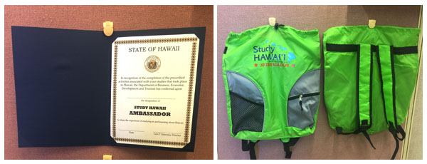 Certificate and Backpack